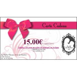 Carte Cadeau 15.00€. La Clef des Charmes, Loveshop Toulouse