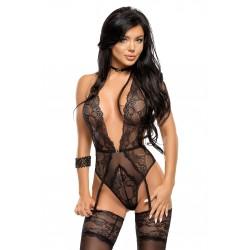 BEAUTY NIGHT Body Sexy ADELAIDE en dentelle noire. La Clef des Charmes