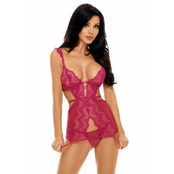 BEAUTY NIGHT Sexy PEYTON Chemise with rose Lace. La Clef des Charmes