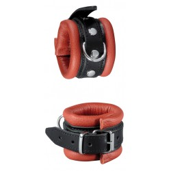 XX-DREAMSTOYS Black and Red Leather Handucuffs